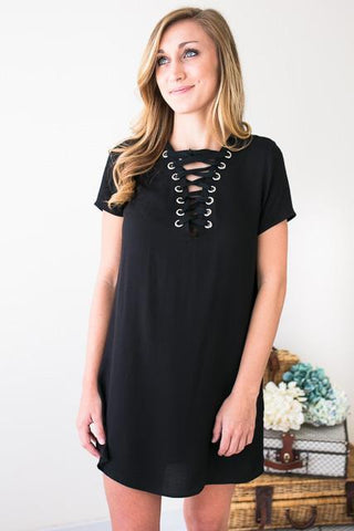 How to Love Lace Up Black Dress