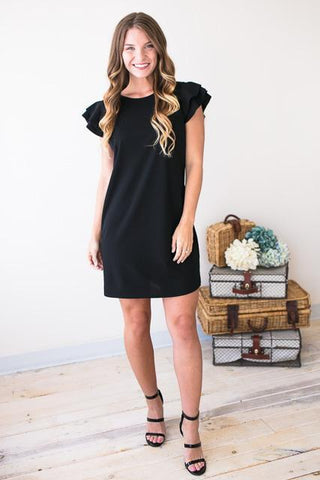 I'm Like a Bird Flutter Sleeve Dress - Black