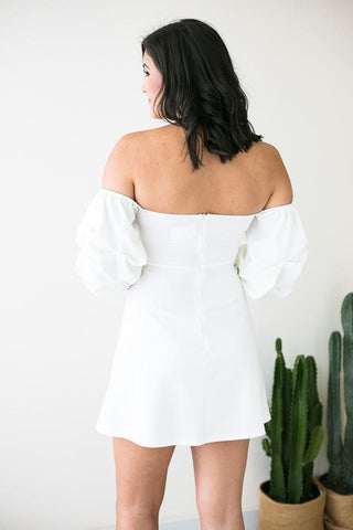 In the Clouds Off Shoulder White Dress