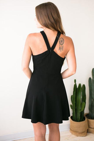 In the Present Black Flare Dress
