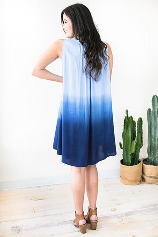 July Flames Tie Dye Dress - Blue