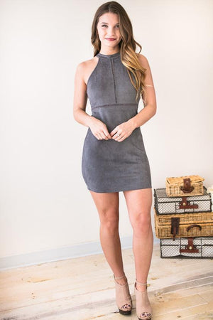 Dresses - Kinsley Grey Suede Body Con Dress