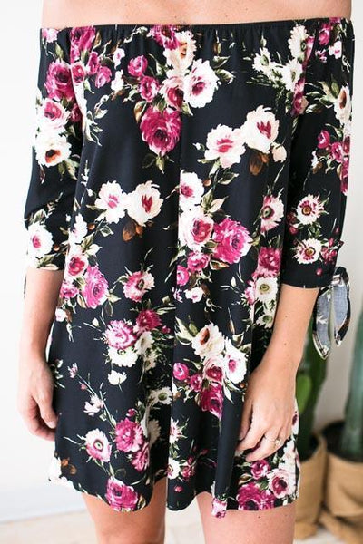 Dresses Midnight Floral Black Off The Shoulder Dress - Lotus Boutique