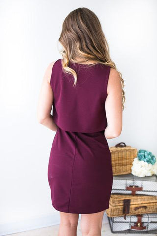 Old School Love Layered Tank Dress in Burgundy