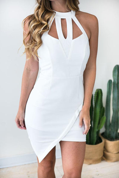 Dresses Only Us Cut Out White Bodycon Dress - Lotus Boutique