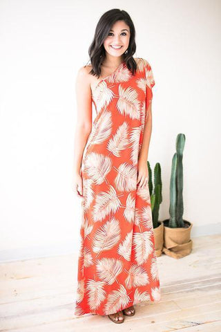 Picture Perfect Palm Print Dress - Orange