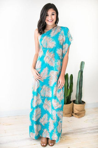 Picture Perfect Palm Print Dress - Turquoise