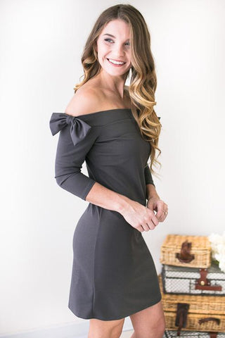 Pretty Little Bows Off The Shoulder Dress