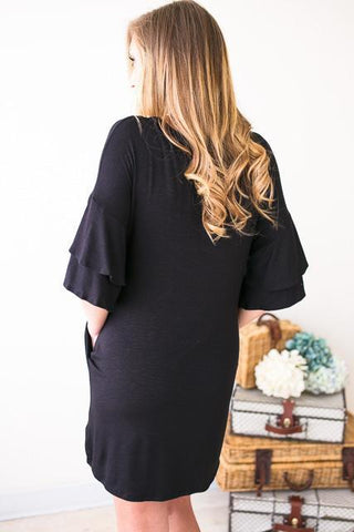 Ready and Ruffled Sleeves Black Dress