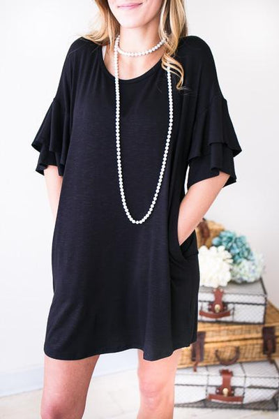 Dresses Ready and Ruffled Sleeves Black Dress - Lotus Boutique