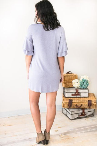 Ready and Ruffled Sleeves Blue Grey Dress