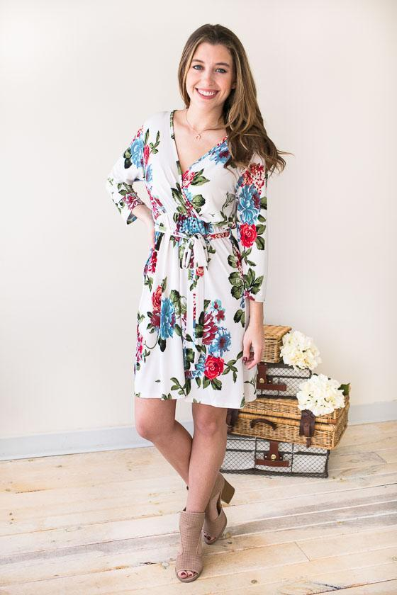 Spring Blooms Floral Wrap Dress