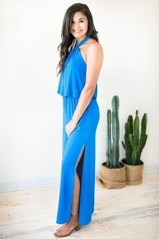 Swing It Around Twist Neck Maxi Dress - Blue
