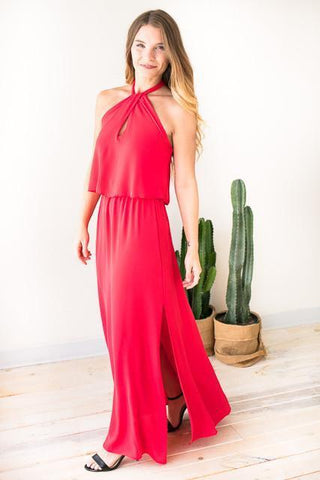 Swing It Around Twist Neck Maxi Dress - Poppy Red