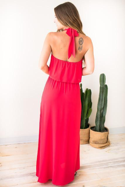 Dresses - Swing It Around Twist Neck Maxi Dress - Poppy Red