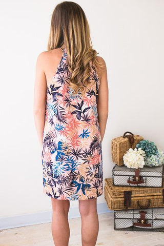 Tiki for Two Palm Print Halter Dress