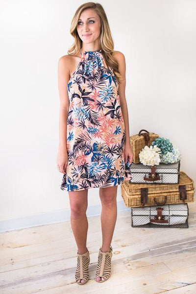 Dresses Tiki for Two Palm Print Halter Dress - Lotus Boutique