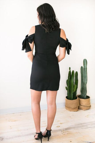 Till The End Bow Sleeve Black Dress