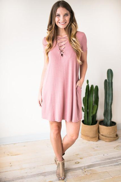 Dresses Valley Side Strappy Low V Neck Dress - Lotus Boutique