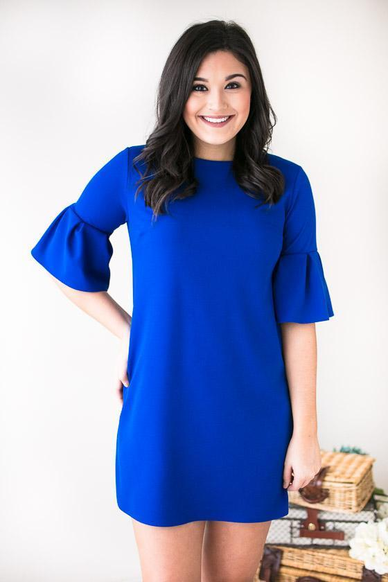 Dresses Visions Of You Ruffle Sleeve Dress- Royal Blue - Lotus Boutique