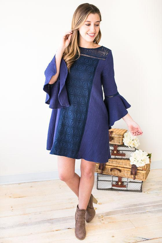 Dresses Walk On Water Lace Front Dress- Navy - Lotus Boutique