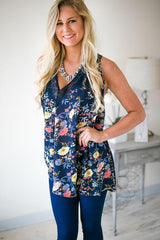 Navy Fall Floral Sheer Tunic