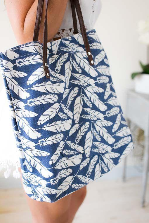 Fly Like A Feather Blue Beach Tote-Accessories-Lotus Boutique-Lotus Boutique