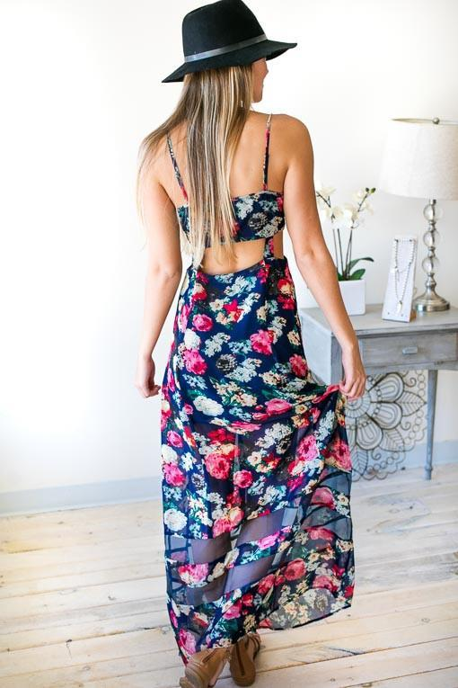 Dresses Floral Trails Cut Out Maxi Dress - Lotus Boutique