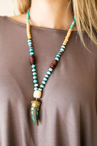 Wooden Bead Necklace with Tusk