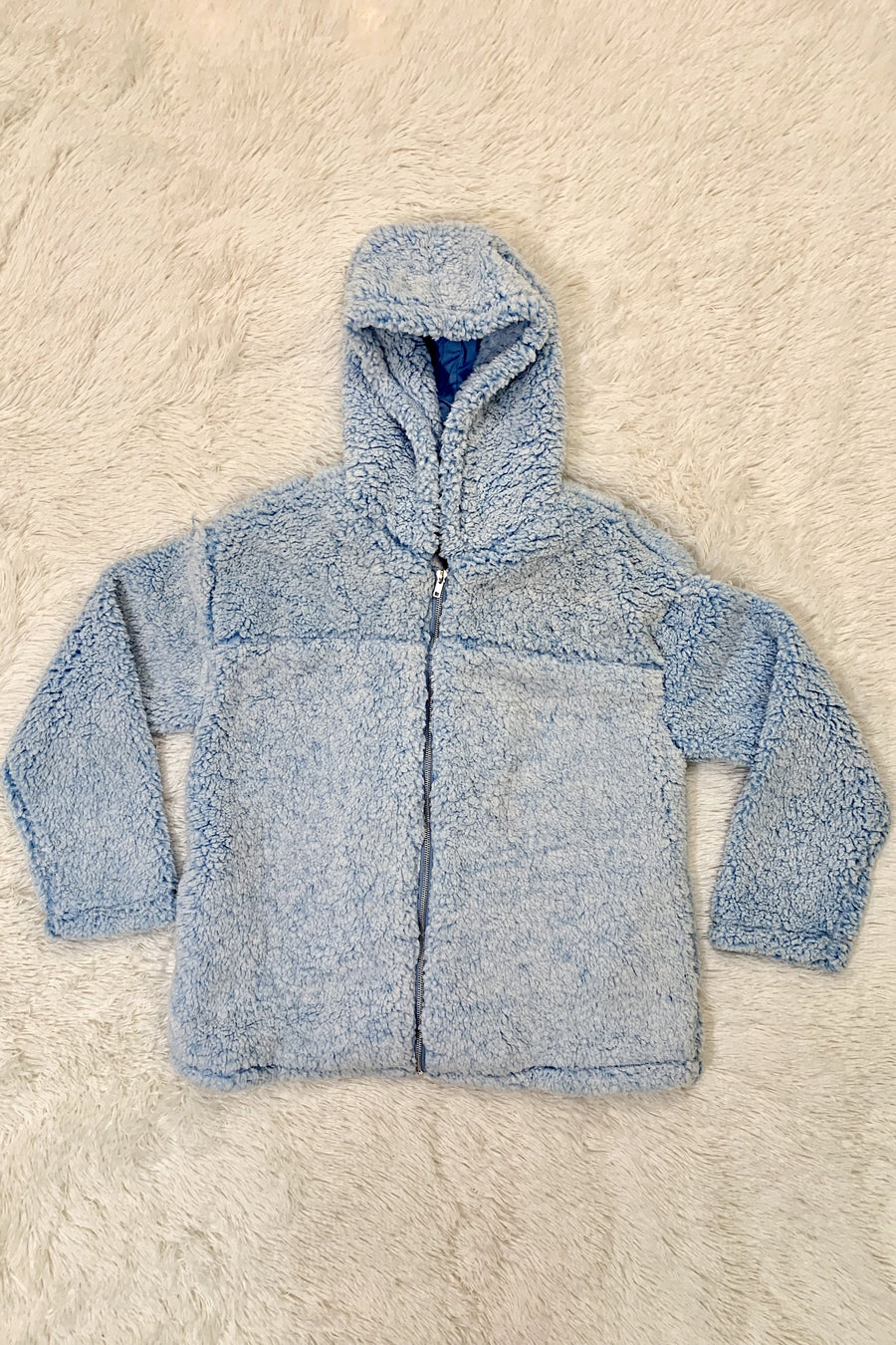 Candy Paint Sherpa Hoodie with Zipper - Ice Blue