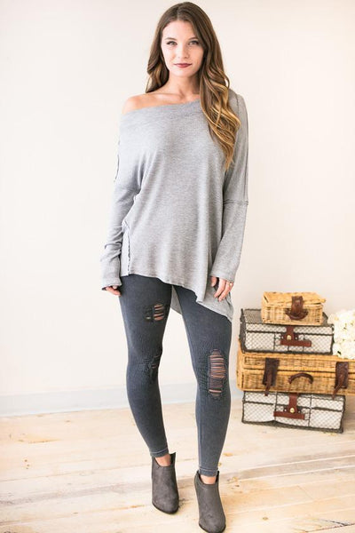 In The Works Distressed Leggings - Lotus Boutique