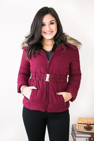 Puffing Season Quilted Jacket With Fur- Raspberry
