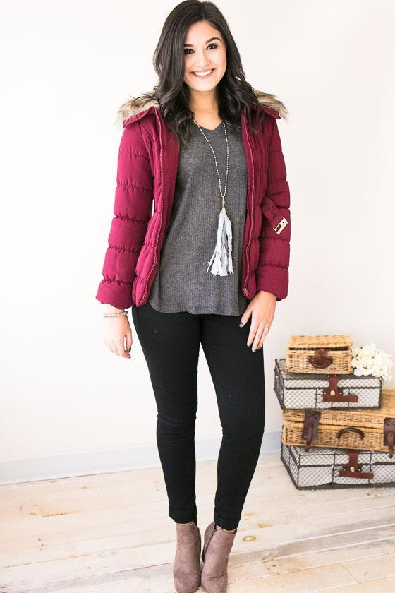 Jacket - Puffing Season Quilted Jacket With Fur- Raspberry