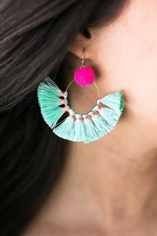 Barbados Trip Tassel Earrings - Mint