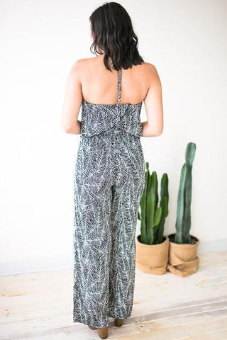 All Year Long Black Palm Print Jumpsuit