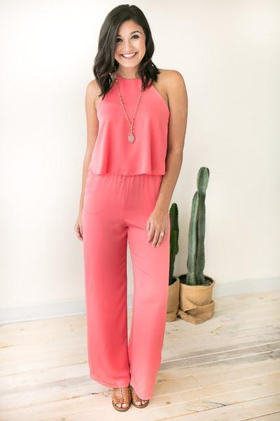 Jumpsuits - All Year Long Coral Jumpsuit