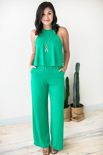 Jumpsuits All Year Long Emerald Jumpsuit - Lotus Boutique