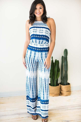 Fresh Air Blue Tie Dye Jumpsuit