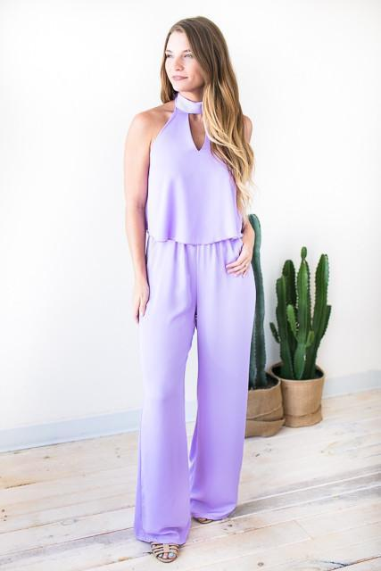 Suddenly Halter Cut Out Jumpsuit - Lilac