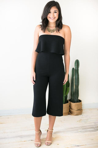 Waiting on Love Crop Black Jumpsuit