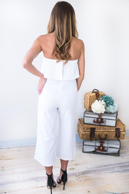 Jumpsuits Waiting on Love Crop White Jumpsuit - Lotus Boutique