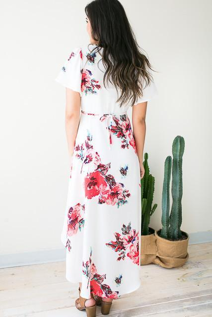 Dresses Naturally Wrap High Low Dress - White  - Lotus Boutique