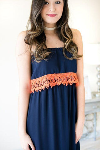 Must Have Game Day Lace Trim Maxi Dress