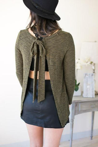 Party In The Bow Back Olive Sweater