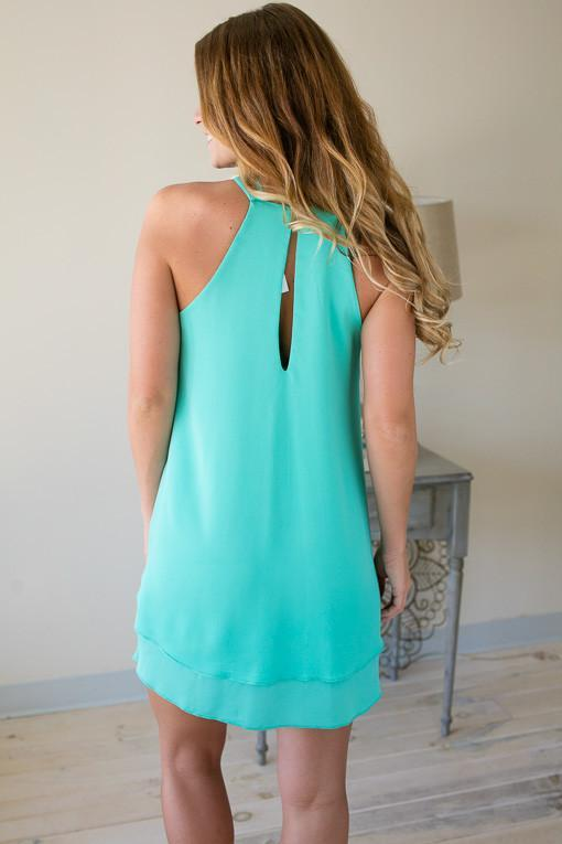 Dresses Yes To The RSVP Mint Halter Dress - Lotus Boutique