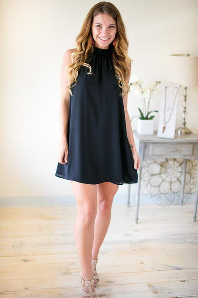 Crazy In Love Black Ruffle Neck Dress-Dresses-Lotus Boutique-Lotus Boutique