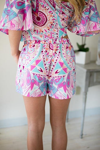 Color Me Rad Printed Matching Set: Shorts