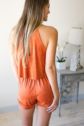 Rust is a Must Suede Like Romper with Pockets