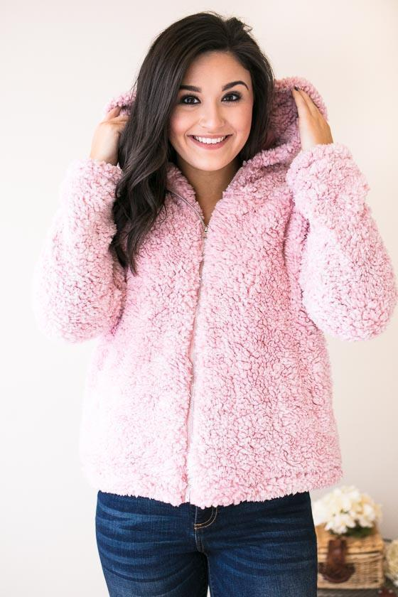 Outer Wear - Candy Paint Sherpa Hoodie With Zipper - Pink