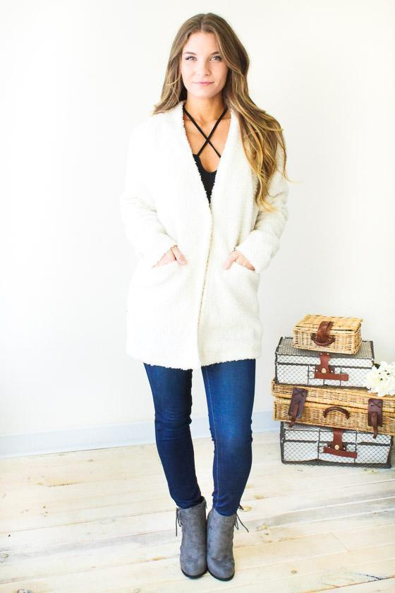 Outer Wear - Follow Back Fuzzy Coat - Ivory